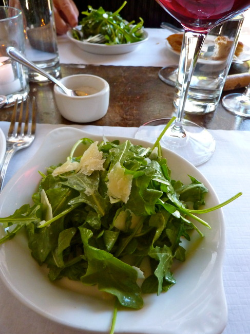 Salade de Roquette, an Arugula Salad with Shaved Parmesan and Lemon Vinaigrette,