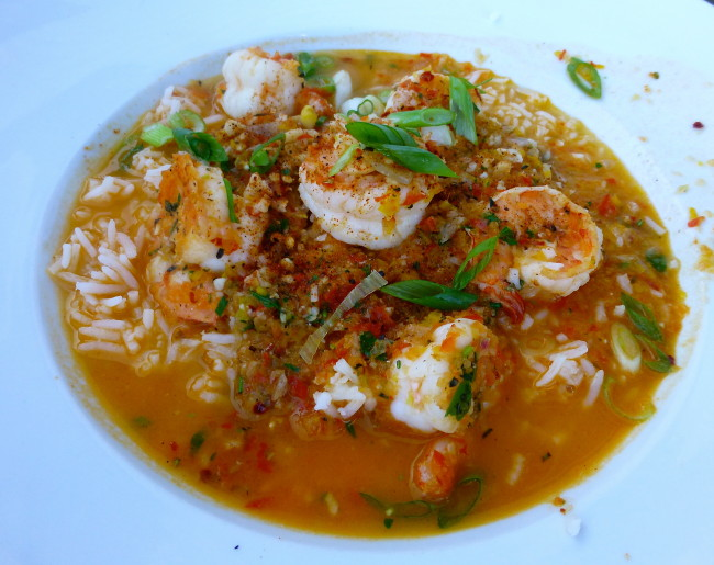 Shrimp Creole, Large White Shrimp poached in a Spicy Creole Sauce, served over White Rice and topped with Green Onions