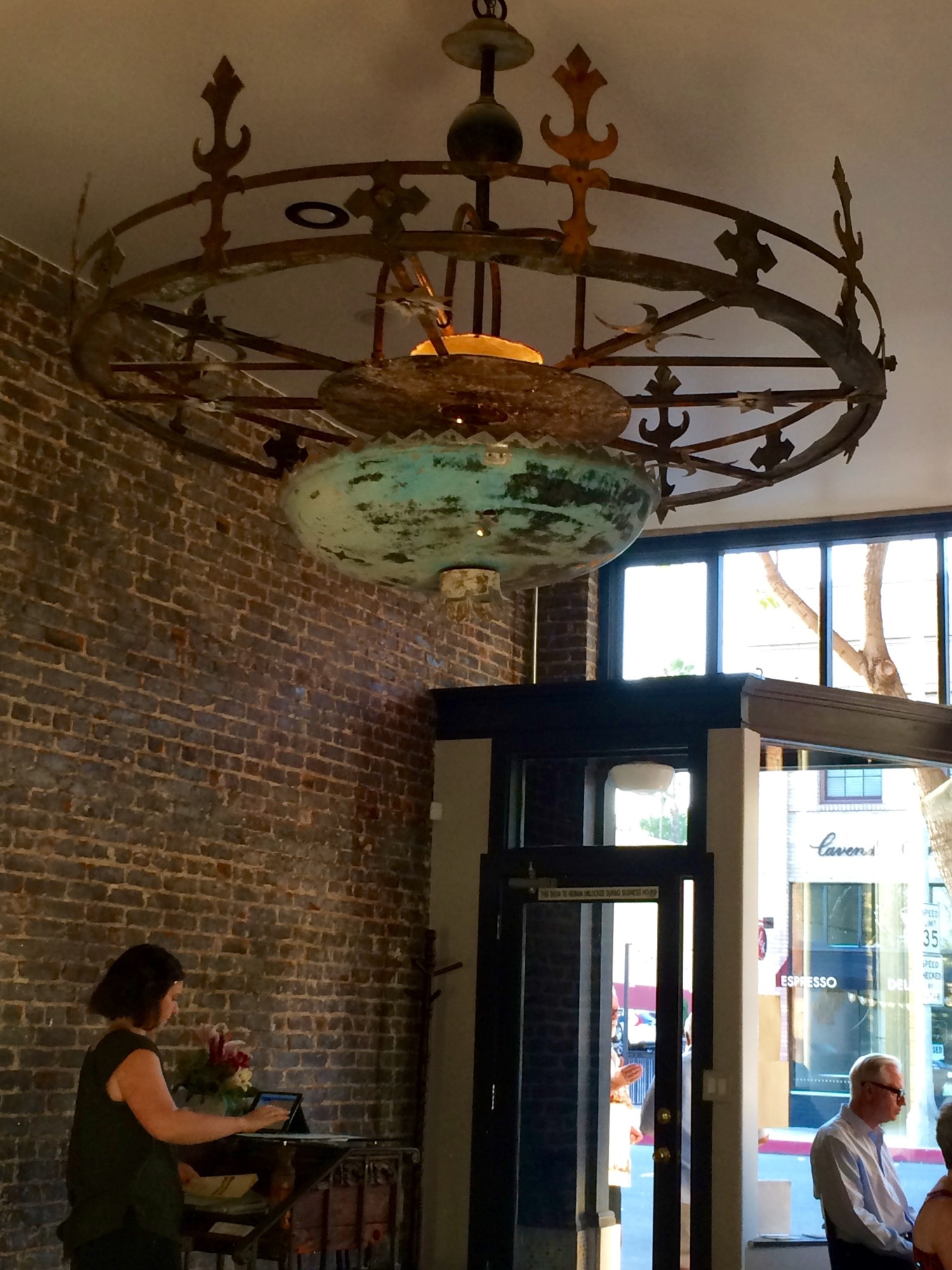 Bacchus kitchen pasadena ca travels with mai tai tom the first thing you notice when is a wrought iron chandelier the restaurant configured with two rooms has lots of exposed brick arubaitofo Choice Image