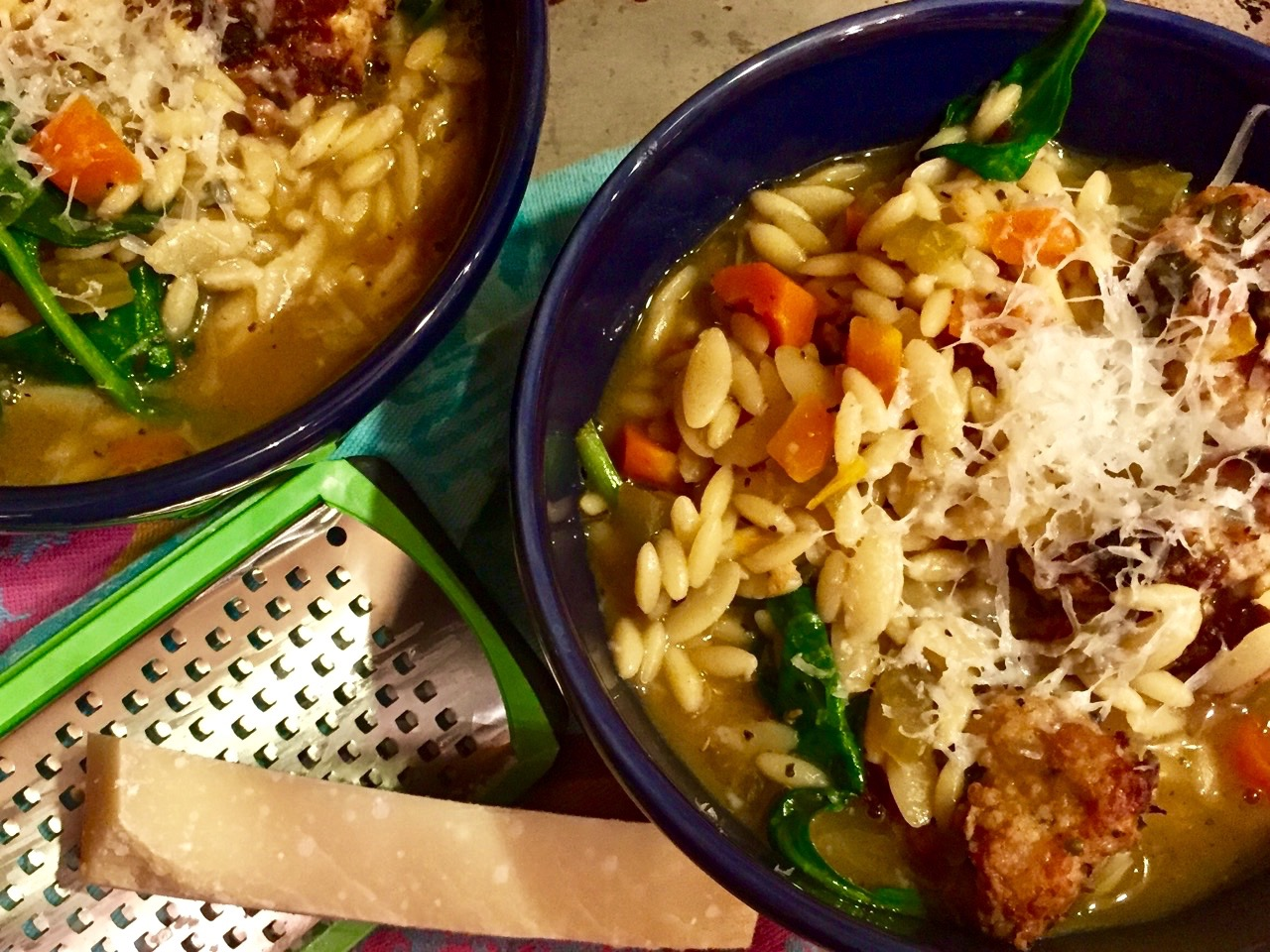 Italian Wedding Soup with Orzo and Spicy Chicken Meatballs