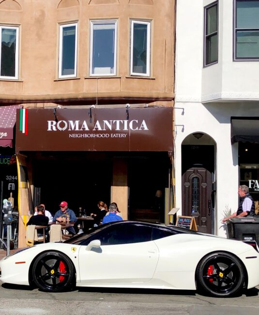 Roma Antica San Francisco Exterior with Italian Sports Car